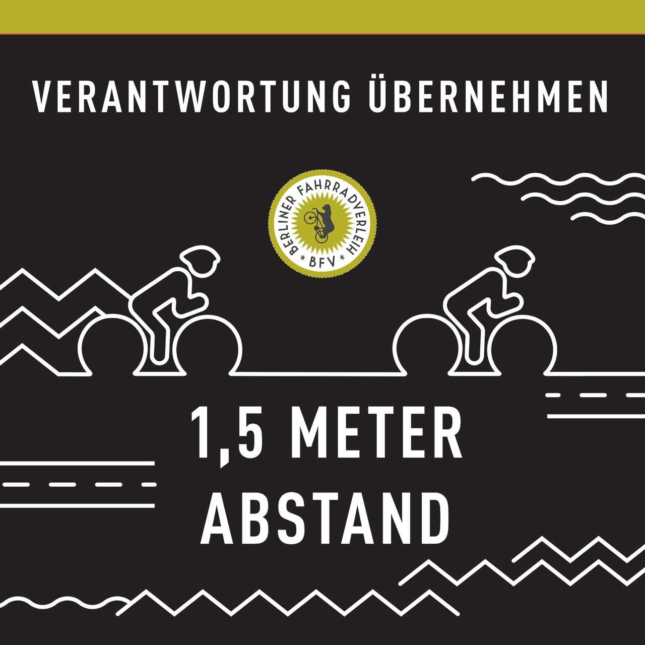 Abstand halten beim Fahrradfahren - Verantwortung übernehmen - Berliner Fahrradlverleih